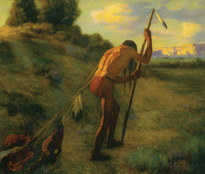 "J. H. Sharp, The Stoic, 1914, oil, 53"" x 62""  Collection of the Museum of Fine Arts, NM In supreme grief, like the the death of the favorite warrior son, the Indian would cut the muscles of the back, tie the buffalo thongs to them - with several pony heads at the other end, and drag around the hill side from sunrise to sunset, or until the thongs pulled loose - to prove he was a brave man and had the courage and fortitude to face any trouble."