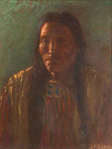 "Joseph H. Sharp (1859-1953), Indian Portrait, ca. 1910, oil on board, 9"" x 7"""