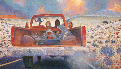 "Shonto Begay, Our Promised Road, Acrylic on Canvas, 43.5"" x 72"""