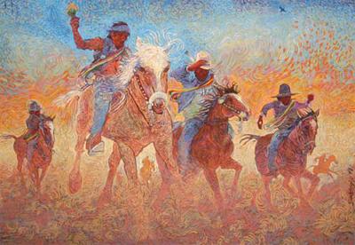 "Shonto Begay, The Healing Ride, Acrylic on Canvas, 53"" x 75"""