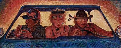 "Shonto Begay, Lights Too Close, Acrylic on Canvas, 17.5"" x 44"""
