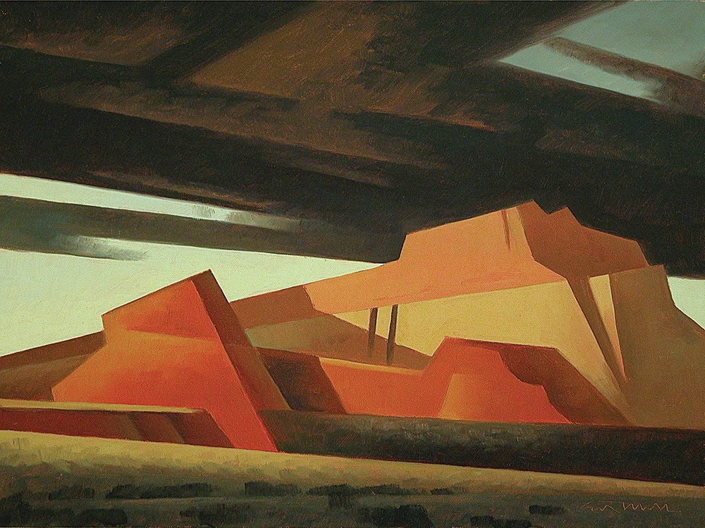 "Ed Mell, Slanted Mesas I, oil on linen board, 11"" x 14"""