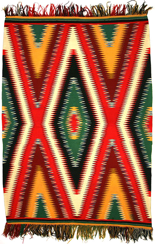 "Navajo Germantown Eyedazzler Blanket, c. 1890, 77-1/2"" x 54-1/2"""