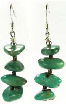 Turquoise Stacked Nugget Earrings