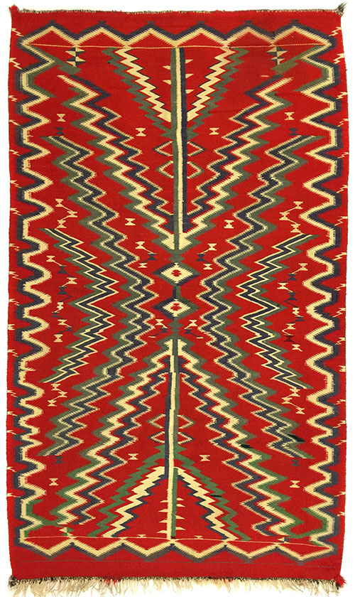 "Navajo Germantown blanket, ca. 1900, 79-1/2"" x 50"""