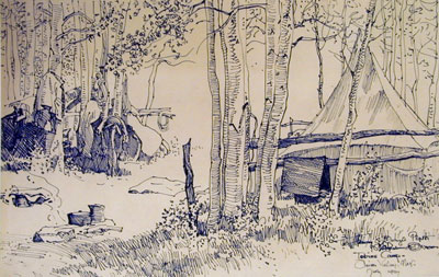 Maynard Dixon, Tobins Camp, Pinion Valley, Nevada, (July 1927), pen and ink on paper, 9 x 15""