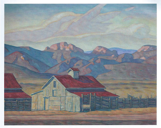 "Howard Post, Two Barns, Oil, 24"" x 30"", 2011"