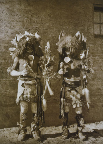 "Edward Sheriff Curtis, Tesuque Buffalo Dancers, photograph copyrighted 1925, after 1925, copper-plate photogravure in sepia ink on Van Belder paper, 22""x18"""