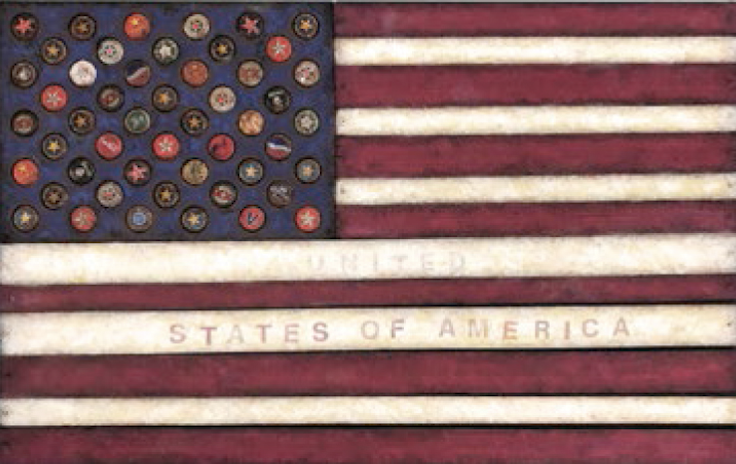 "Victoria Roberts ""United"" States of America, Mixed Media, 22"" x 33"""
