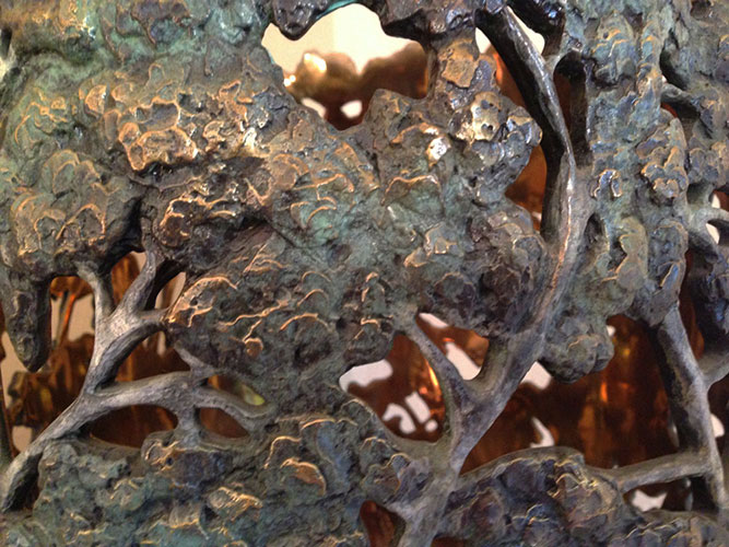Carol Alleman, Voice of Wisdom close-up, 2016, Bronze