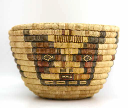 Hopi polychrome kachina design coil basket, ca. 1930, 51⁄4 x 73⁄4""