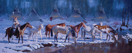 "Fred Fellows, Early Morning Light, oil on canvas, 30"" x 70"""