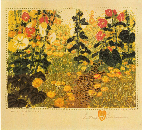 "Gustave Baumann, My Garden, 1924, color woodcut, 6""x7.5"""