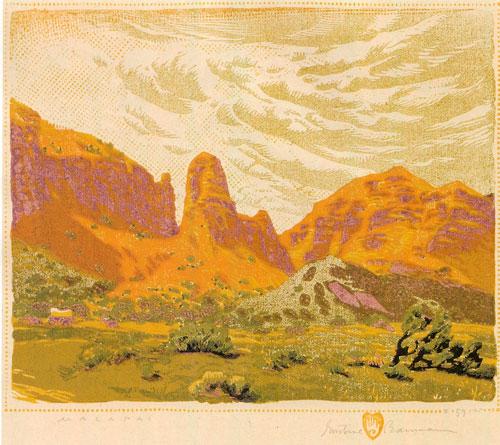"""Gustave Baumann, Malapai, color woodblock print, 9""""x11"""""""