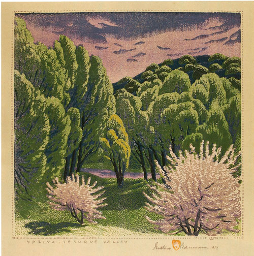 "Gustave Baumann, Spring - Tesuque Valley, 1953 (subsequent edition 1954), color woodcut, 13""x12.5"""