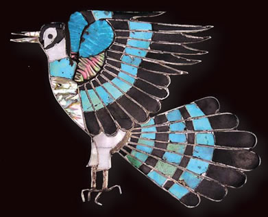 Zuni Multi-stone Inlay Bird Pin, c. 1940