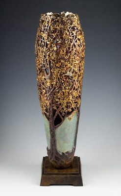 "Carol Alleman, Gingko: Seed of Hope, Cast Bronze Editionof 33, 18.75"" x 4.75"""