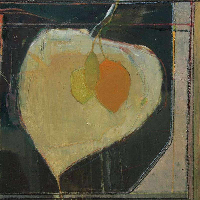 """Francis Livingston, Aspen on Aspen, oil and Navajo textile on panel, 36"""" x 36"""""""