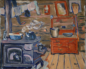 "Jozek Bakos, Kitchen Interior, Oil on Canvas, 13.75"" x 17"""
