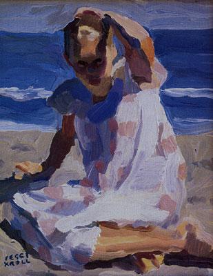 "Peggi Kroll-Roberts, Beach Day, oil, 10"" x 8"""