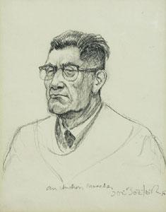 """Joe Beeler, Indian Preacher, Graphite on Paper, c. 1960-70, 7"""" x 6"""""""