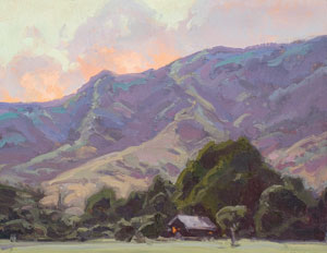 "Bill Gallen, Mountain Home Evening, Oil on Mounted Linen, 14"" x 18"""