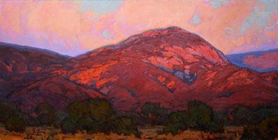 """Bill Gallen, Evening Light on the Sangre de Cristos, Oil on Linen, 24"""" x 48"""""""