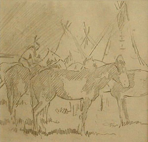 "Edward Borein, Southern Cheyenne Village, Pencil on Lined Paper, c. 1900, 6"" x 6"""