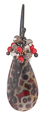 Dana Busch - Cluster Drop Earrings with Poppy Jasper, Raw Diamond, Coral, Keshi Pearls, and Oxidized Sterling Silver