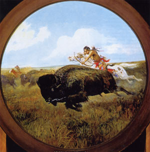 "C. M. Russell, Buffalo Hunt, c. 1895, Oil on Mirror, 27"" diameter"