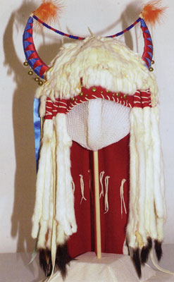This traditional headdress belonged to Charle Russell and the artist can be seen wearing it in the photo shown above in this article.