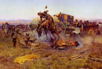 Charles Marion Russell, The Camp Cook's Troubles, 1912, Oil on Canvas, Gilcrease Museum, Tulsa, OK, 0137.913