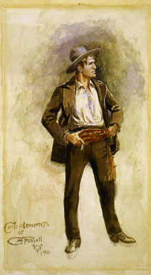 Charles Marion Russell, Self Portrait, 1900, Watercolor on Paper, Buffalo Bill Historical Center, Cody, WY