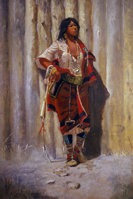Charles Marion Russell, Indian Maid at Stockade, 1892, Oil on Canvas, JP Morgan Chase Art Collection