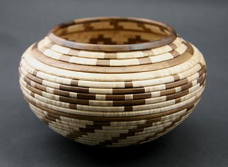 "Glen Crandall, Walnut and Tiger Maple Wooden Vessel, 4.5"" x 7"""