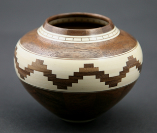 "Glen Crandall, Walnut and Holly Wooden Vessel, 3.5"" x 4.5"""