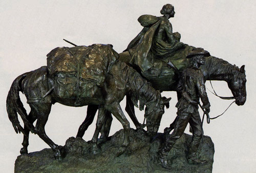 Alexander Phimister Proctor (1860-1950), The Pioneer Mother, 1927, Bronze, 56 x 82 x 28.5.Santa Barbara Museum of Art, gift of the A. E. Clegg family. Fig. 1