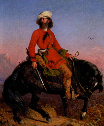Charles Deas (1818-1867) Long Jakes, The Rocky Mountain Man, 1844, Oil on Canvas, 41.875 x 37, Jointly owned by the Denver Art Museum and the Anschutz Collection, purchased in memory of Bob Magness with funds from 1999 Collectors' Choice, Sharon Magness, Mr. and Mrs. William D. Hewit, Carl and Lisa Williams, Estelle Rae Wolf - Flowe Foundation, and the T. Edward and Tullah Hanley collection, by exchange, Fig 8