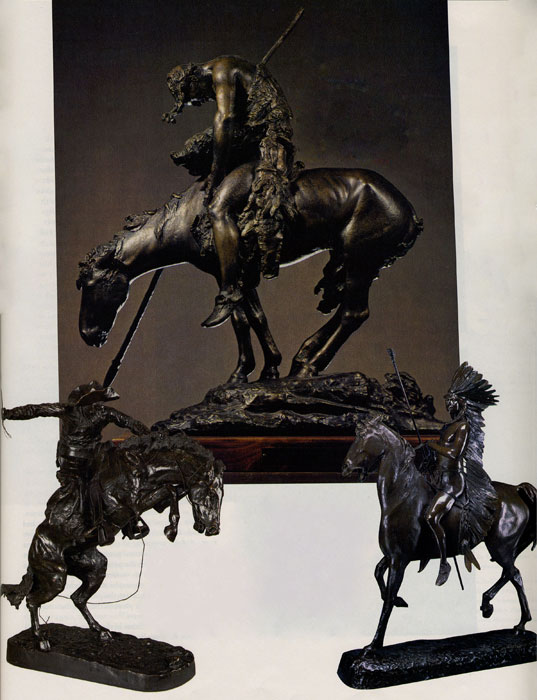 Top: Fig 5, James Earle Fraser (1876-1953) End of the Trail, Bronze, 11.75, Collection of Diane, Daniel and Mathew Wolf, on loan to the Denver Art Museum in honor of Diane Wolf. Bottom Left: Fig 6, Frederic Remington (1861-1909) Broncho Buster, 1895, Bronze, 23.25 x 22 x 13, Private collection. Bottom Right: Fig 7, Alexander Phimister Proctor (1860-1950) Indian Warrior, 1898, 1898 Gold Medal Paris Expedition, Bronze, 38.75 x 8.375 x 27.5, Denver Art Museum, gift of Sharon Magness