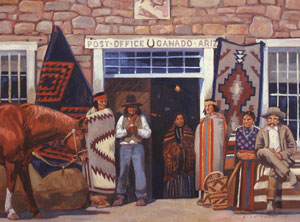 "Dennis Ziemienski, Post Office - Ganado, Ariz., Oil on Canvas, 30"" x 40"""