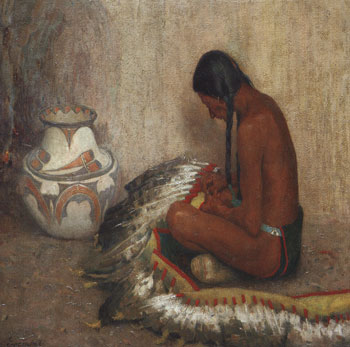 "E. Irving Couse (1866-1936), Mending the War Bonnet, 1910, oil on canvas, 30"" x 36"""