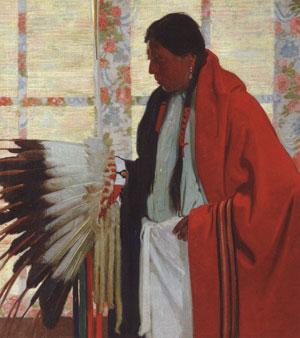 "E. Martin Hennings (1886-1956) His Dance Bonnet, 1930s, oil on canvas, 40"" x 36"""