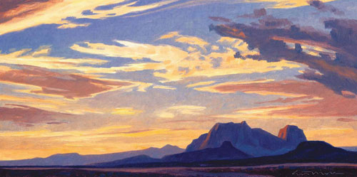 "Ed Mell, Saddle Mountain, Oil on Linen Board, 8"" x 18"""