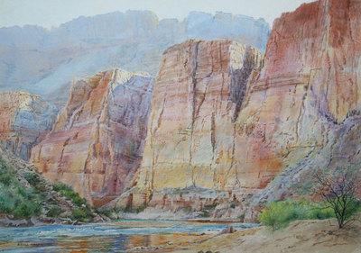 "Merrill Mahaffey, Eminence Cliffs, Acrylic on Canvas, 38"" x 56"""