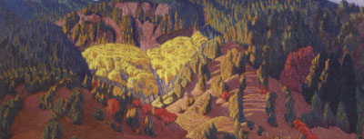"Ernest Blumenschein (1874-1960), Autumn Landscape, NM, c. 1925, oil on canvas, 10.5"" x 25.5"""