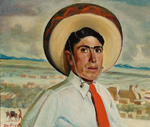"Joseph Fleck, Young Man with Sombrero, Oil on Canvas, c. 1931, 20"" x 24"""