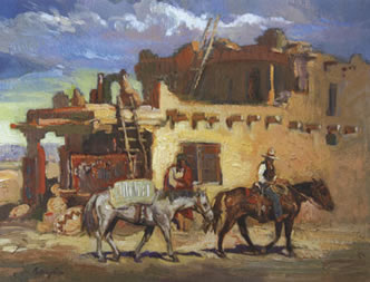 """Francis Livingston, Distant Storm (Chimayo Trading Post), oil on panel, 14"""" x 18"""""""