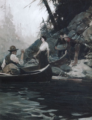 "Frank Tenney Johnson (1874-1939), Journey by Canoe, c. 1930, oil on canvas, 25"" x 19"""