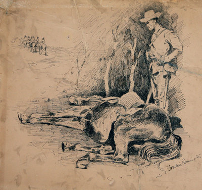 Frederic Remington (1861-1909) Spanish Calvaryman by His Dead Horse, ink on paper, 10.5 by 11 inches