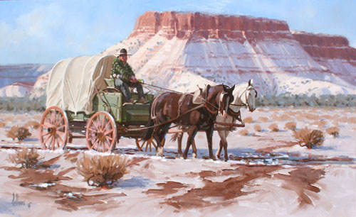 "Fred Fellows, Trip to the Trading Post, Oil on Panel, 18 "" x 30"""